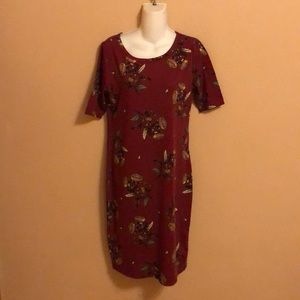 LulaRoe Julia Burgundy Floral Dress M